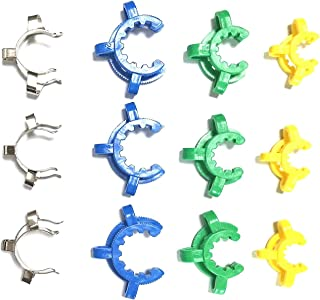 Keck Clip Kit 12 Pack - Assorted Sizes 14mm, 19mm, 24mm - Plastic and Stainless Steel