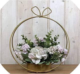zeoqo Nordic Artificial Flower Hydrangea for Wedding Decoration Wrought Iron Flower Frame Arrange Metal Hoop Wreath Decor,A066R05