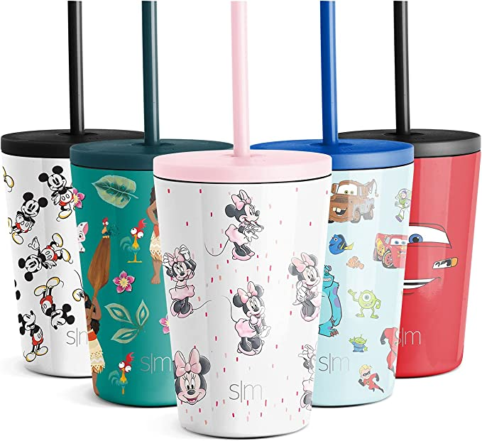 Simple Modern Disney Water Bottle for Kids Reusable Cup with Straw Sippy Lid Insulated Stainless Steel Thermos Tumbler for Toddlers Girls Boys, 12oz, Minnie Mouse: Sprinkles