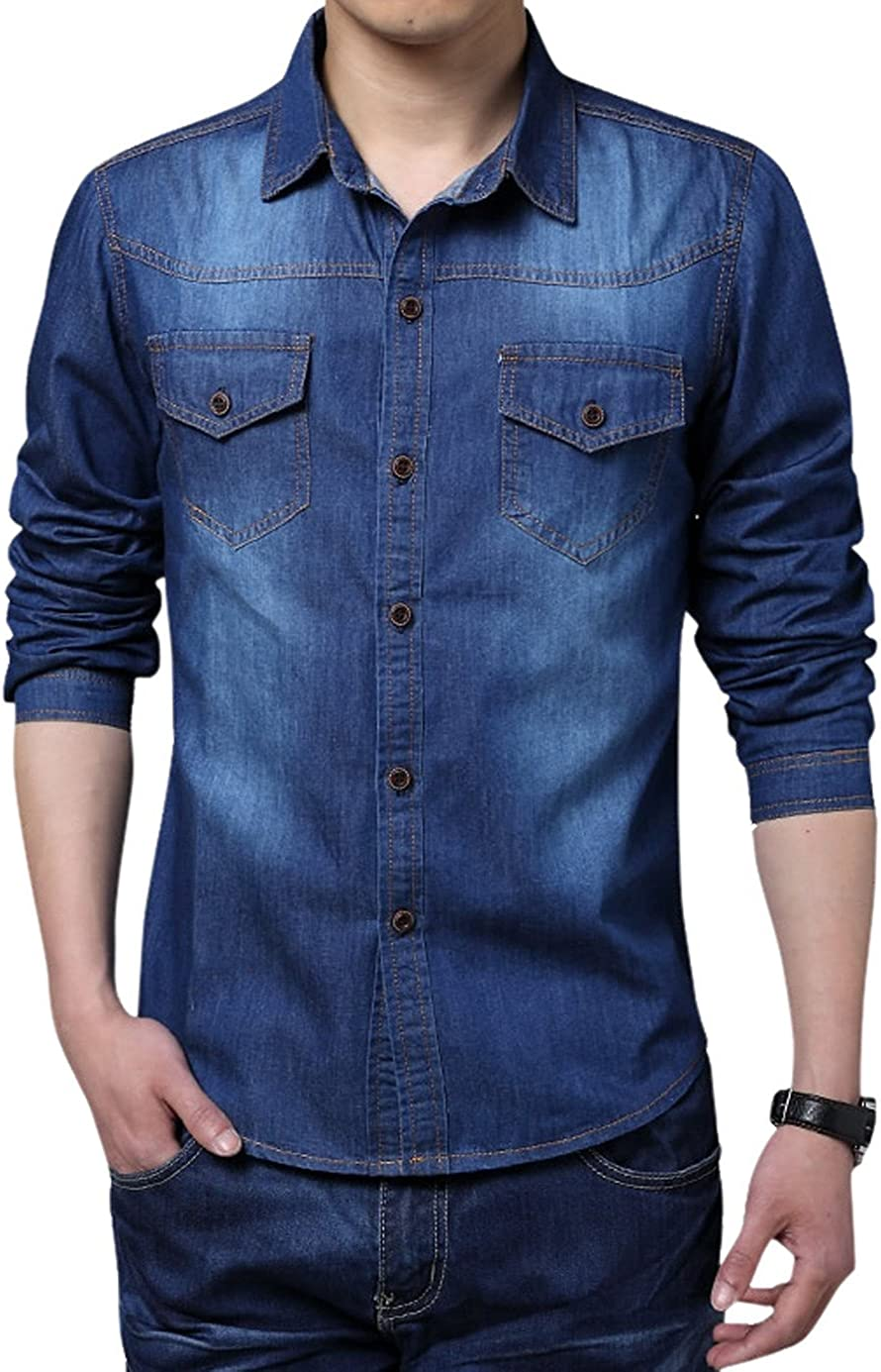chouyatou Men's Long Sleeve Button Up Casual Denim Shirts Tops