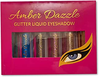Amber Dazzle Glitter Liquid Eyeshadow - 6 Colors Set Ultra Long Lasting Vegan & Cruelty Free