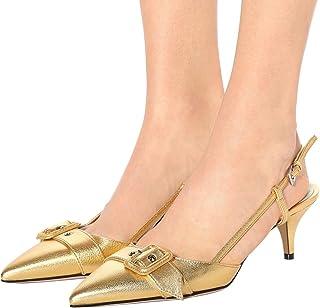 ae88818d094f4 XYD Women Pointed Toe Low Kitten Heel Shoes Slingback Slip On Buckle  Wedding Party Dress Sandal