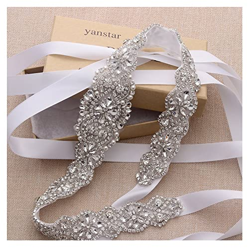 5399b9a4e264 Bridal Rhinestone Wedding Belts Hand Clear Crystal 22In Length For Bridal  Gowns