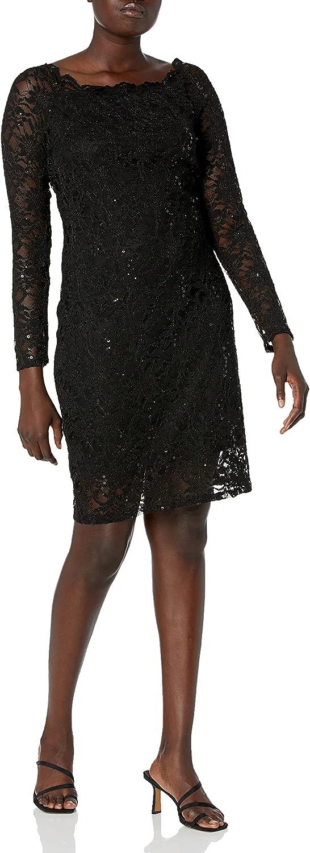 Tiana B Women's Scallop Neck Sequin Lace Dress Petite