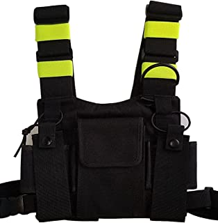 Lewong Universal Hands Free Chest Harness Bag Holsterfor Two Way Radio (Rescue Essentials) (Black and Fluorescent Green)