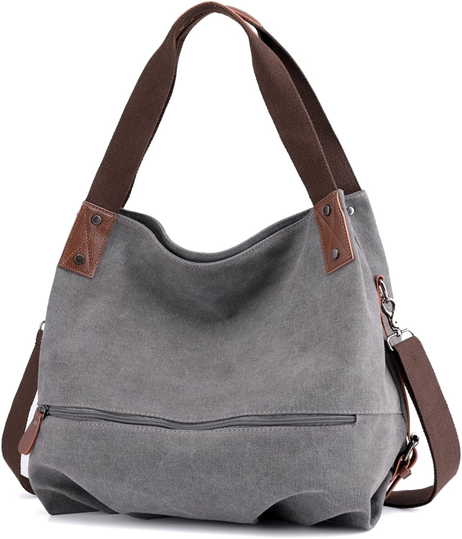 Bainuote Women's Canvas Handbags Shoulder Shopping Bags for Women ToteHandbag Large Crossbody Bag Retro Hobo Casual Shoulder Bag for Working,Shipping, Traveling, School