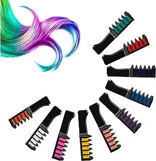 falllea 10 Colores de Peines de Tiza de Colores Temporales de cabello Tinte No Tóxico Lavables Cabello Tiza Set Color de T...