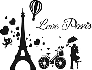 GULIGULI Love Paris Wall Decals-Eiffel Tower Romantic Vinyl Stickers for Bedroom Living Room Home Decor