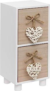 Maturi Cómoda con Dos cajones (Madera) diseño de corazón Color Blanco 22 x 11 x 9.5 cm