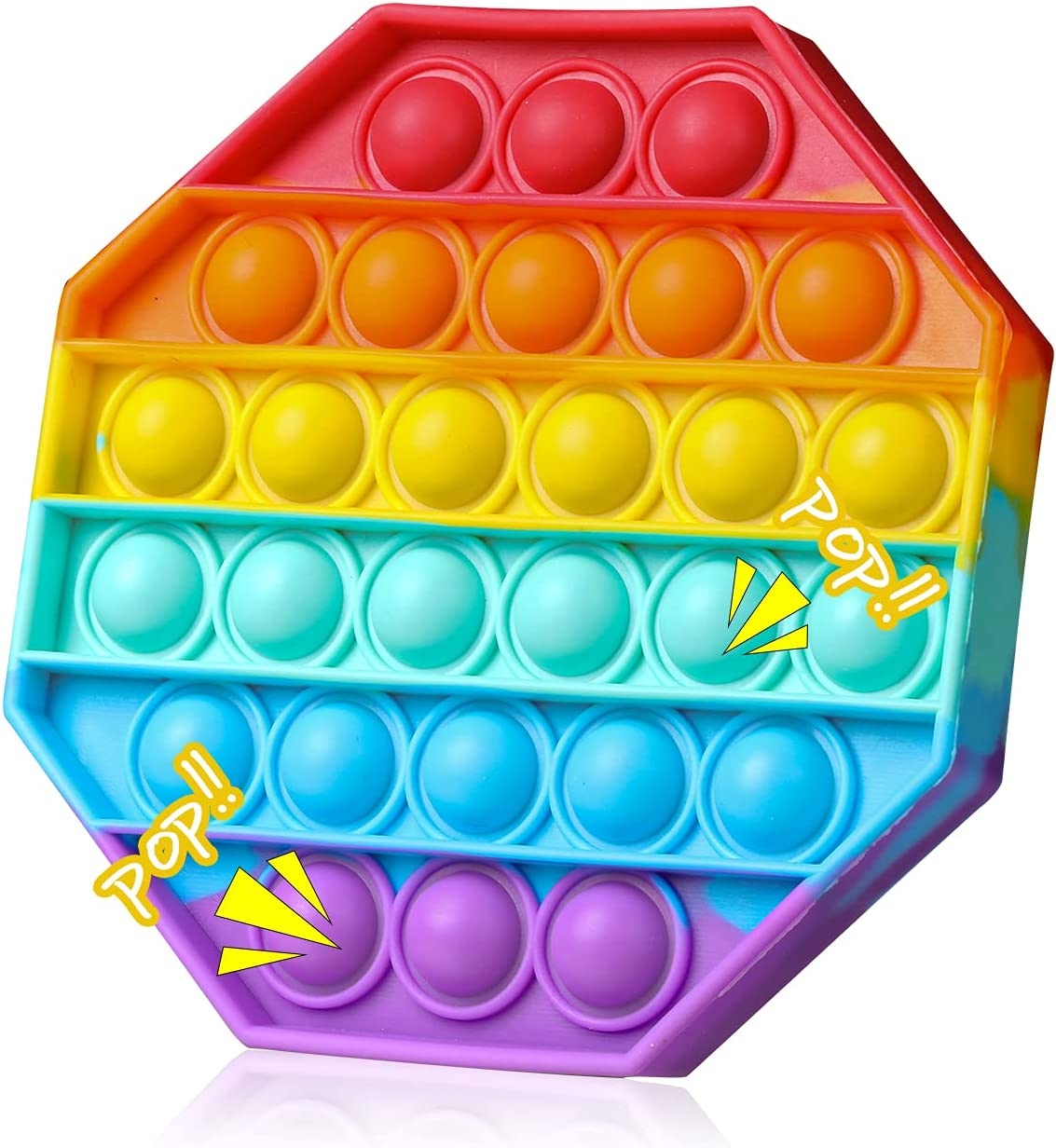 Pop Fidget Toy Rainbow Octagon, Push Bubble Sensory Squeeze Toy Gift Educational School Game Crafts for Kids Teen, Autism Stress Sensory Toy Reliever