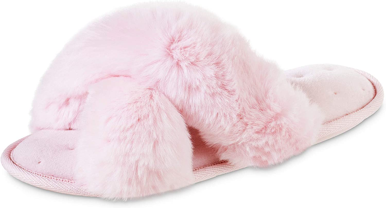 isotoner Women's Fuzzy Same day shipping Slipper Cozy Open Toe F a Flip-Flop with Milwaukee Mall