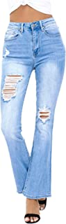 Women's Ripped Bootcut Jeans Distressed Flare Jeans Stretch Bell Bottom Jeans with Holes