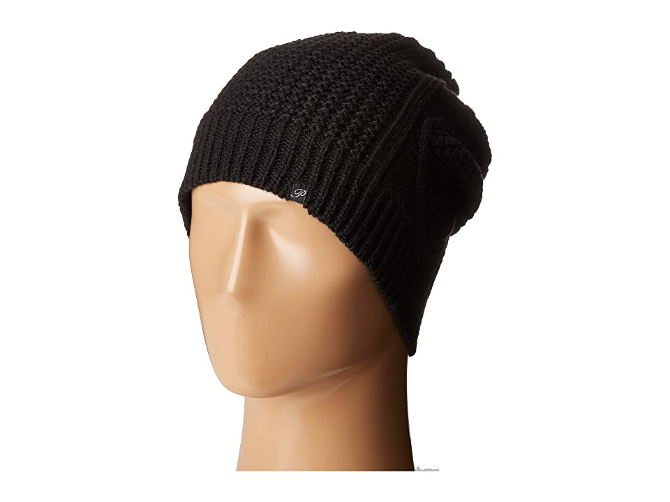 Plush Fleece-Lined Diamond Cable Knit Beanie (Black) Beanies