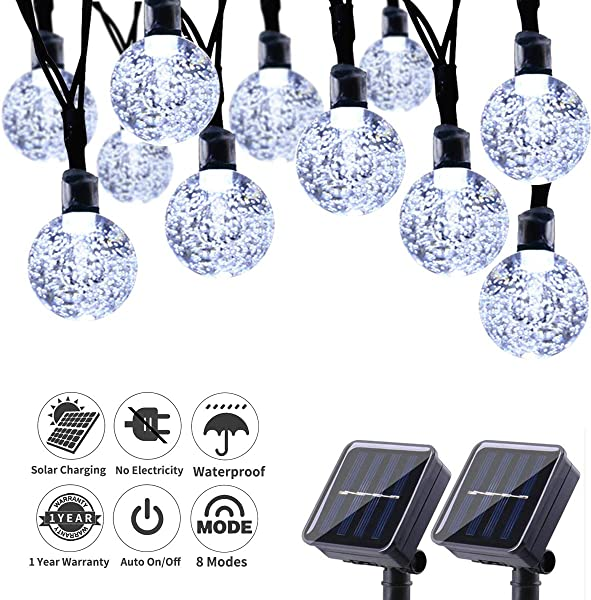 HONGFU18 Solar String Lights 42 66 Feet 60 LED Outdoor Solar Lights With 8 Modes Waterproof Crystal Ball String Lights For Wedding Christmas Camping RV Garden Patio Bistro Backyard White
