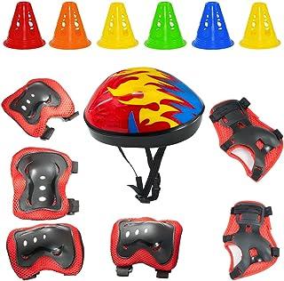 ayuqi 7pcsスポーツ保護セット子供用、調整可能な肘パッド膝パッド手首ガードとヘルメットwith Free 6トレーニングコーンのマルチスポーツ:サイクリングスケートボード自転車スクーターのローラースケートIce Skati