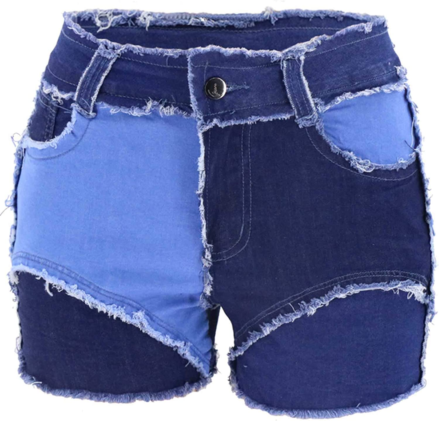 Women's Casual Splicing Pockets Sexy Personality Jeans Ultra-Short Denim Shorts