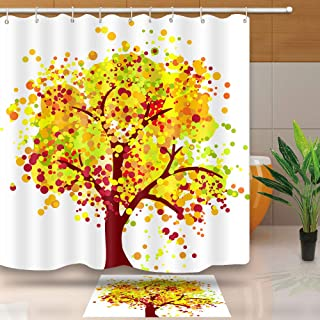 Fall Shower Curtain, Tree Composed of Dots of Different Sizes Creative Romantic Season Scene, Waterproof Fabric for Bathroom Accessories, No Liner Needed, Weight Hem, DSNT088-72