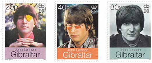 John Lennon Beatles Set of 3 Collectible Postage Stamps Gibraltar