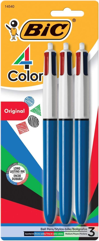 Medium Point 3-Count 1.0mm Ballpoint Pen Assorted Inks
