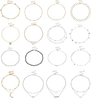 FIBO STEEL 16 Pcs Choker Chain Necklaces for Women Girls Layered Star Moon Pendant Deliacte Charm Chokers Silver Gold Plat...