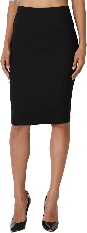 TheMogan Slim! High Waisted Pencil Knee Skirt Office Evening Suiting S~3XL
