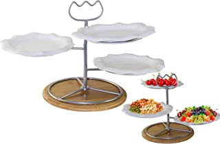 Vagati ws-115 Ceramic Set of 3 Fruit bowl, Salad and Dessert Plate With Metal Carry Handel Stand & Wooden Base, white