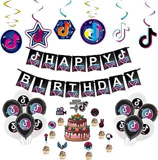 LUYIPITA TIK Tok Party Decorations, TIK Tok Happy Birthday Banners TIK Tok Cake Topper Cupcake Toppers for Tiktok Theme Pa...