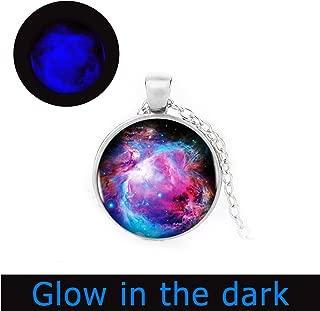 Glowlala@Full Moon Glowing Necklace, Glow in The Dark,Space Picture Glowing Pendant, Galaxy Glowing Jewelry