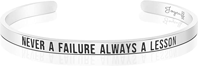 Joycuff Bangle Cuff Bracelets for Women Encouragement Jewelry Gifts Never a Failure Always a Lesson
