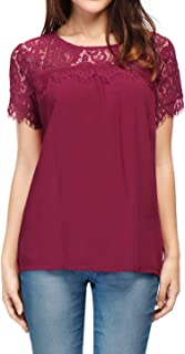 Allegra K Women`s Loose Round Neck Semi Sheer Lace Panel Blouse