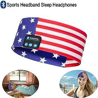 Bluetooth Headband Headphones, Wireless Bluetooth Sleeping Headband Running Music Earphones Headband Sports Sweatband Built-in Speakers Microphone American Flag Design Blue