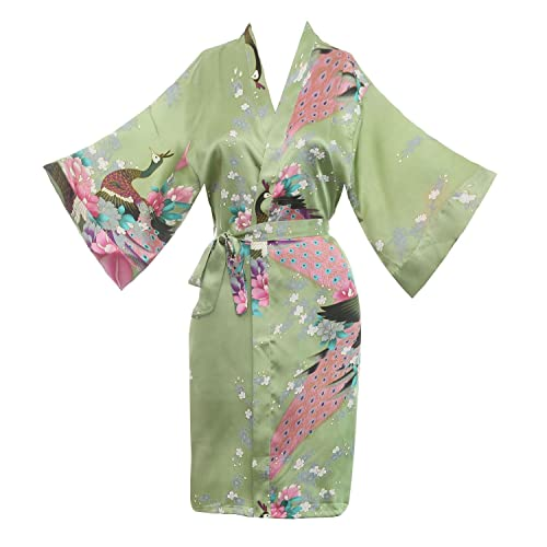 f0790e9796 missfashion Women s Kimono Robe Peacock   Blossoms Satin Nightwear