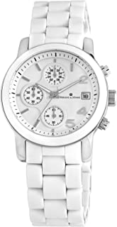 Herzog and Söhne Women's Quartz Watch with White Dial Chronograph Display and White Stainless Steel Bracelet HS402-186