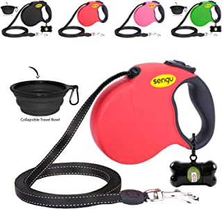 Retractable Dog Leash 16ft, Strong Durable Walking Leash Large Medium Small Dogs 110lbs, Comfortable Anti-Slip Handle Reflective Ribbon Cord One Hand Operation YujueShop