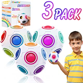 3 Pack Rainbow Puzzle Ball Magic Ball Puzzle Bundle Sensory Fidget Ball Brain Teasers Fidget Block for Kids Adult, Stress Relief Anxiety ADD ADHD Fidget Games Party Favors