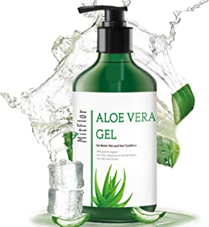 MitFlor Organic Aloe Vera Gel, 100% Pure Aloe Vera Juice from Natural Aloe Plant for Face Hair and Body Skin, 10 oz
