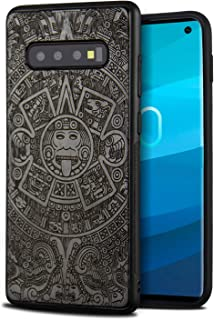 YFWOOD Compatible for Galaxy S10 Case, Cool Wood Engraving Totem Design Shockproof Drop Proof Ultra Slim Bumper Protective Cover for Samsung Galaxy S10 Case