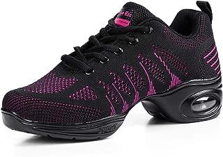 Women's Jazz Shoes Lace-up Sneakers - Breathable Air Cushion Lady Split Sole Athletic Walking Dance Shoes Platform