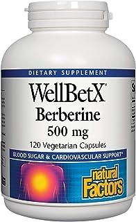 WellBetX Berberine 500 mg by Natural Factors, 120 Vegetarian Capsules (120 Servings)