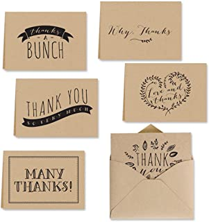 Kraft Thank You Note Card Assortment Pack - Set of 36 Cards - 6 Designs Blank Inside - with Kraft envelopes (53513)