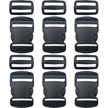 Backpack Repairing Black 5 Set Plastic 1 Inch Flat Side Release Buckles and Tri-Glide Slides with 1 Roll 5.5 Yards Nylon Webbing Straps for DIY Making Luggage Strap Pet Collar