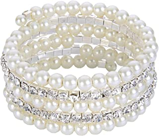 Wedding Layers Cream Ivory Color Simulated Pearl Strand Bracelet Clear Austrian Crystal