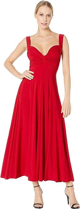 Sleeveless Flared Twist Midcalf Dress