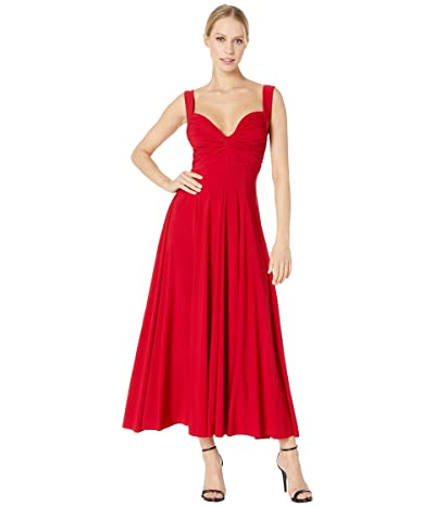 KAMALIKULTURE by Norma Kamali Sleeveless Flared Twist Midcalf Dress (Red) Women