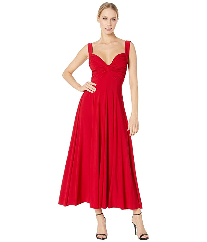 KAMALIKULTURE by Norma Kamali Sleeveless Flared Twist Midcalf Dress (Red) Women