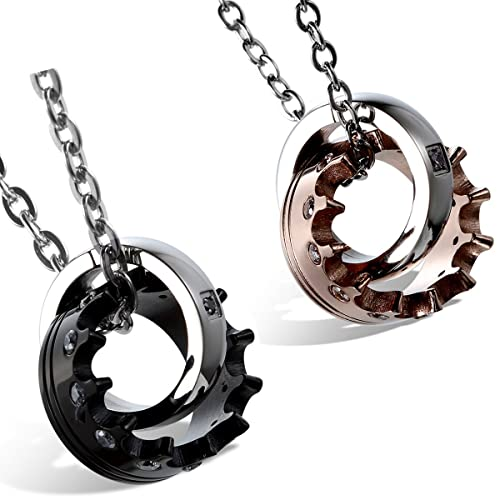 Flongo Mens Womens 2PCS Stainelss Steel Queen King Crown CZ Valentine Pendant Necklace, 22 inch