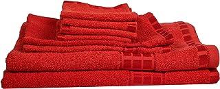 Eurospa Set of 8 Cotton Bath + Hand + Face Towel Set Red (SPDHFCB143MNM8)