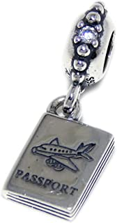 ICYROSE Solid 925 Sterling Silver Dangling Passport Charm Bead 298