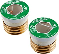 Bussmann BP/T-30 30 Amp Type T Time-Delay Dual-Element Edison Base Plug Fuse, 125V Ul Listed Carded, 2-Pack