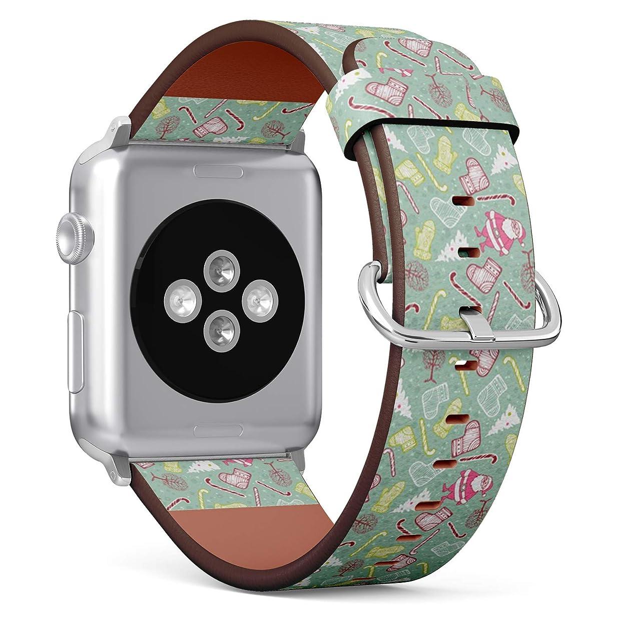 無視できるどれかかわすコンパチブル Apple Watch iWatch 42mm & 44mm - 本革レザーストラップ, 向けのバンド交換ストラップです コンパチブル アップルウォッチ バンド (クリスマスミトン)